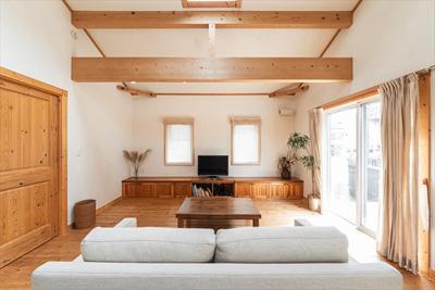 敷地の特性を生かした家と庭の配置、光と風の通り道 イメージ図