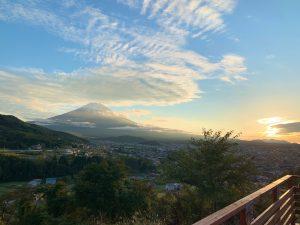 富士山と夕日 *